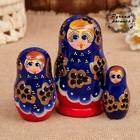 Матрёшка «Смородинка», синее платье, 3 кукольная. 10 см