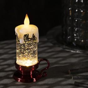 """Фигура световая """"Свеча красная"""", 15х7х7 см, от бат. 3хLR44, пламя моргает, Т/БЕЛЫЙ"""
