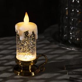 "Фигура световая ""Свеча золотая"", 15х7х7 см, от батареек 3xLR44, пламя моргает, RGB"
