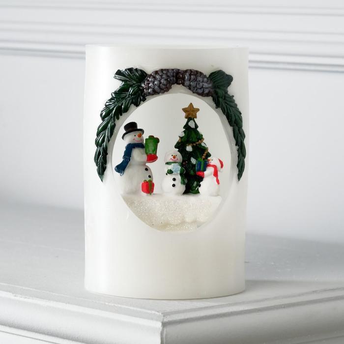 "Фигура световая новогодняя свеча ""Снеговики"", 16х11х11 см, от бат 3*АА(не в компл.)"