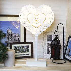 "Фигура на подставке световая ""Сердце ажурное"", 22х20 см, АА*3 (не в компл.), 20 LED"