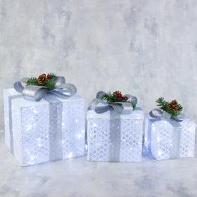 """Фигура текстиль """"Подарки белые с серой лентой""""15х20х25 см, 60 LED, 220V, БЕЛЫЙ"""