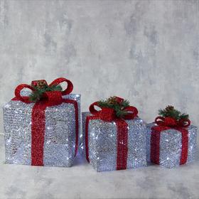 """Фигура текстиль """"Подарки серебряные с красной лентой"""" 15х20х25 см, 60 LED, 220V, БЕЛЫЙ"""
