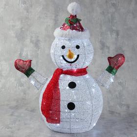 """Фигура светодиодная """"Снеговик в шапке и шарфе"""" 60 см, 60 LED, 220V, БЕЛЫЙ"""