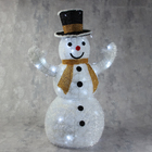 """Фигура ткань """"Снеговик"""", 80 см, 100 LED, 220 В, белый, жёлтый шарф"""
