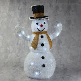 "Фигура текстиль ""Снеговик. Жёлтый шарф"", 80 см, 100 LED, 220V, БЕЛЫЙ"