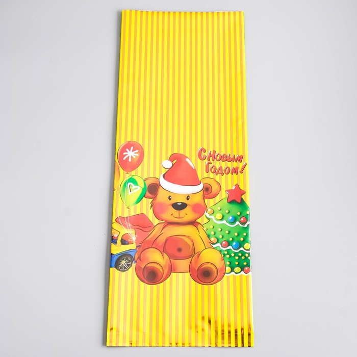 """Пакет подарочный """"История игрушек"""", золотистые полосы, 16 х 42 см, 60 мкм - фото 308289492"""