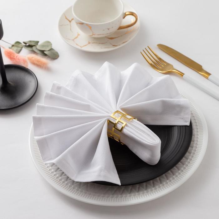 """Салфетка столовая """"Этель"""" 40х40, саржа, цвет белый, 100%хл."""