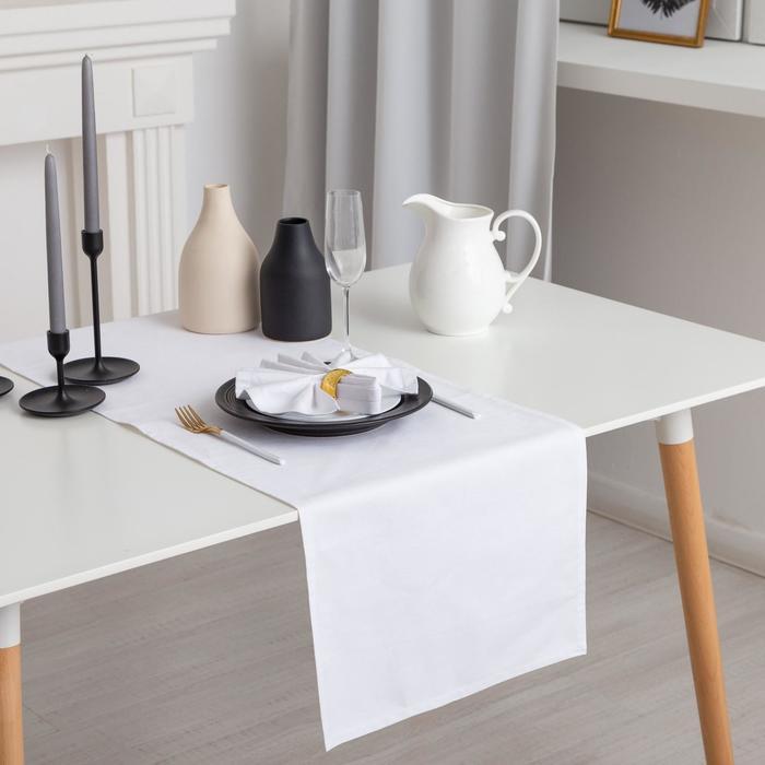 """Дорожка на стол """"Этель"""" 40х140, саржа, цвет белый, 100% хл"""