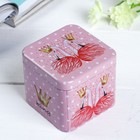 """Шкатулка металл """"Фламинго с цветами"""" 6,5х7,5х7,5 см"""