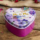 """Box metal heart """"Purple flowers for wedding"""" 4х9х9,5 cm"""