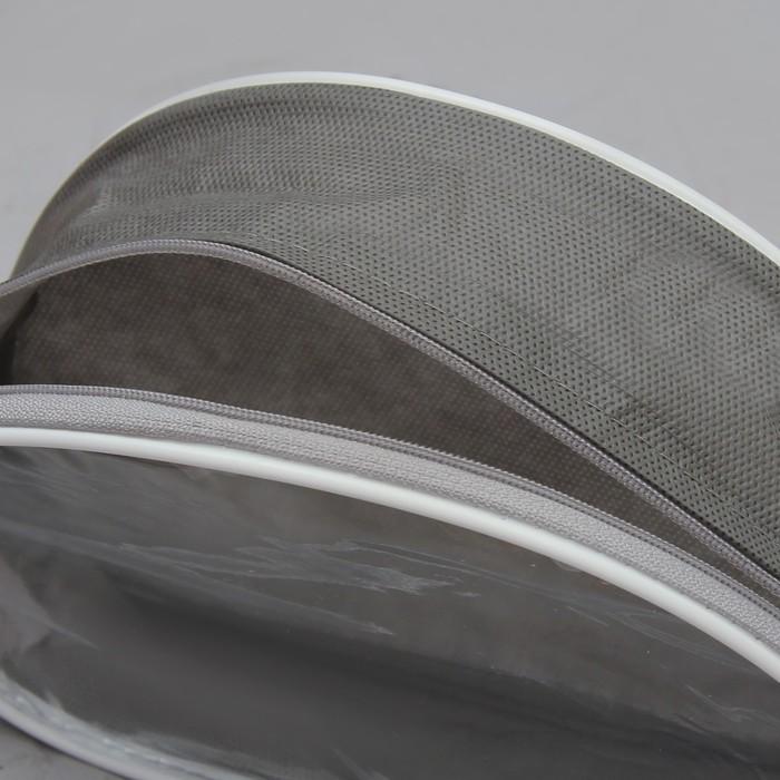 Косметичка ПВХ, отдел на молнии, с ручкой, цвет серый