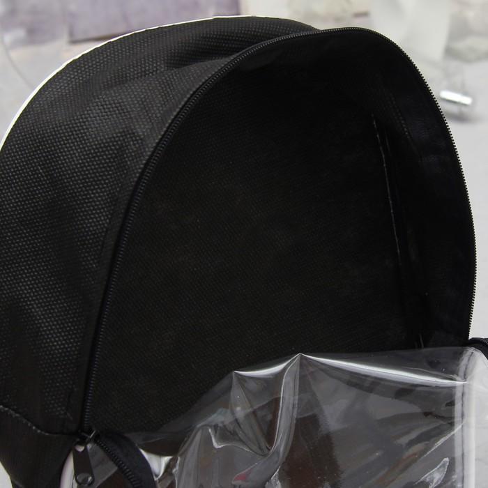 Косметичка ПВХ, отдел на молнии, с ручкой, цвет чёрный
