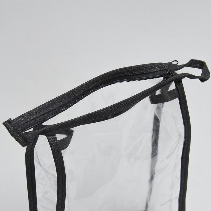 Косметичка ПВХ, отдел на молнии, цвет чёрный