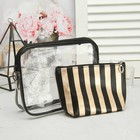 Set of cosmetic bags 2 in 1, division zipper, color black/gold