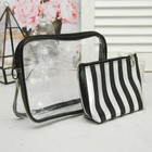 Set of cosmetic bags 2 in 1, division zipper, color black/silver