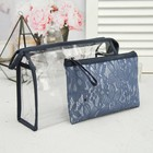 Set of cosmetic bags 2 in 1 , division zipper, blue color