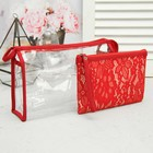 Set of cosmetic bags 2 in 1, division zipper, color red