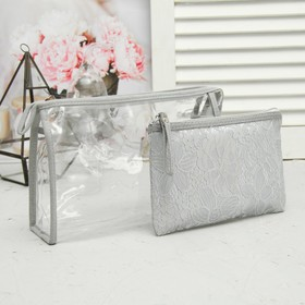 Set of cosmetic bags 2 in 1, division zipper, color gray