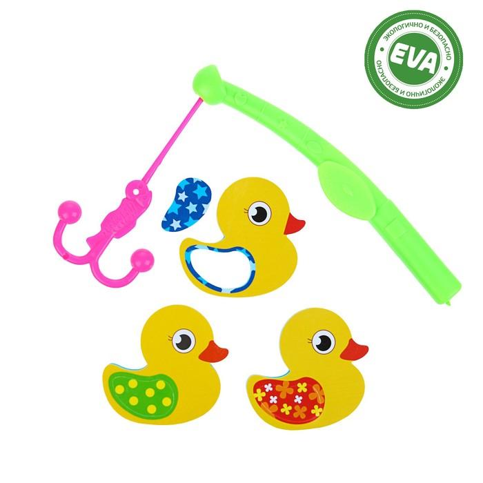 Набор игрушек для ванны «Уточки»: наклейки из EVA, 3 шт. + удочка