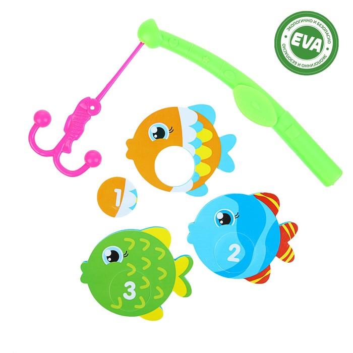 Набор игрушек для ванны «Рыбки»: наклейки из EVA, 3 шт. + удочка