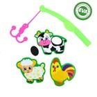 Набор игрушек для ванны «Ферма»: наклейки из EVA, 3 шт. + удочка