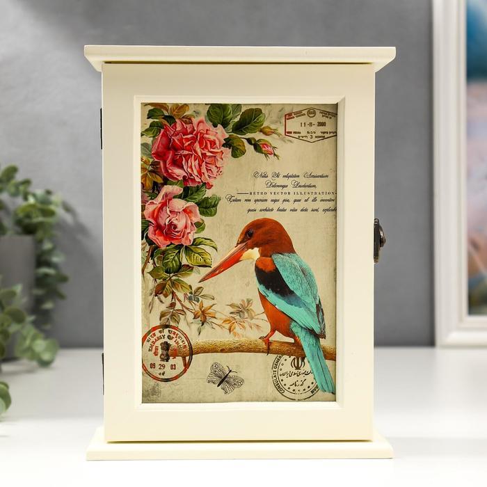 """Ключница дерево 6 крючков """"Птица и розы"""" 24,5х18х7 см"""