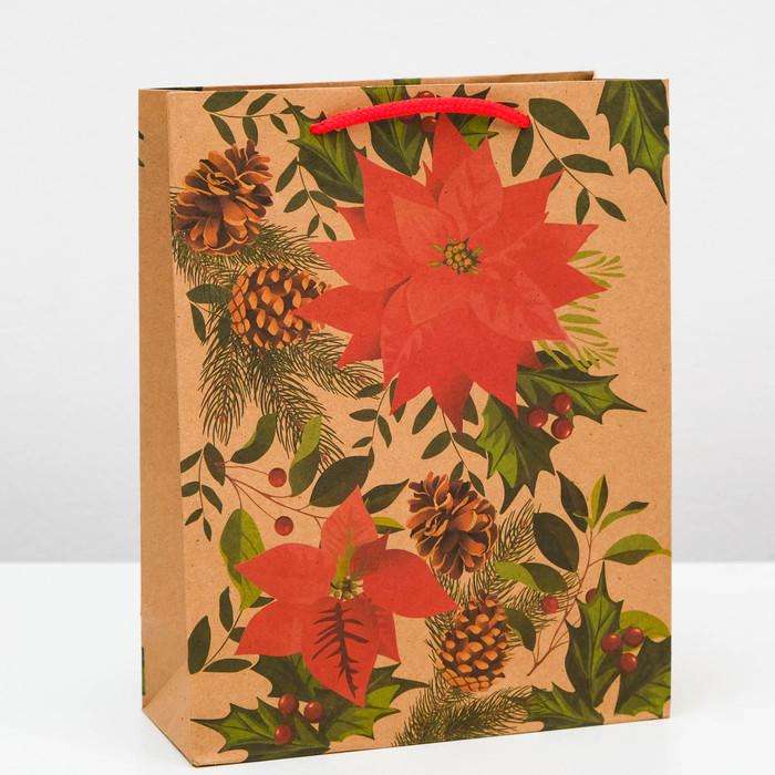 Пакет крафт «Гвоздика», 19 х 24 х 8 см