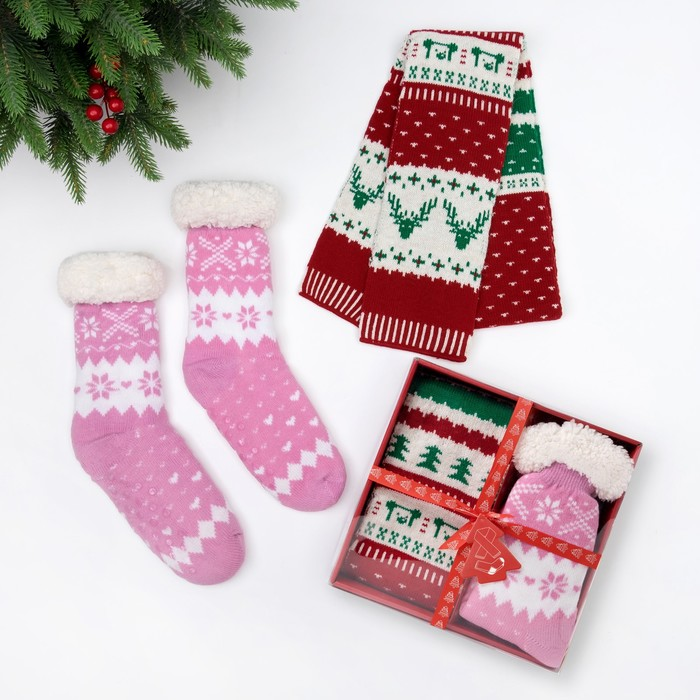 "Подарочный набор KAFTAN ""New Year"" шарф 145*14 см, носки р-р 36-40"