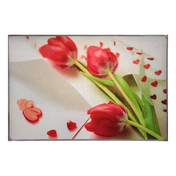 """Наклейка на кафельную плитку """"Сердца из тюльпанов"""" 60х90 см"""