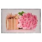 """Наклейка на кафельную плитку """"Букет розовых роз и подарок"""" 45х75 см"""