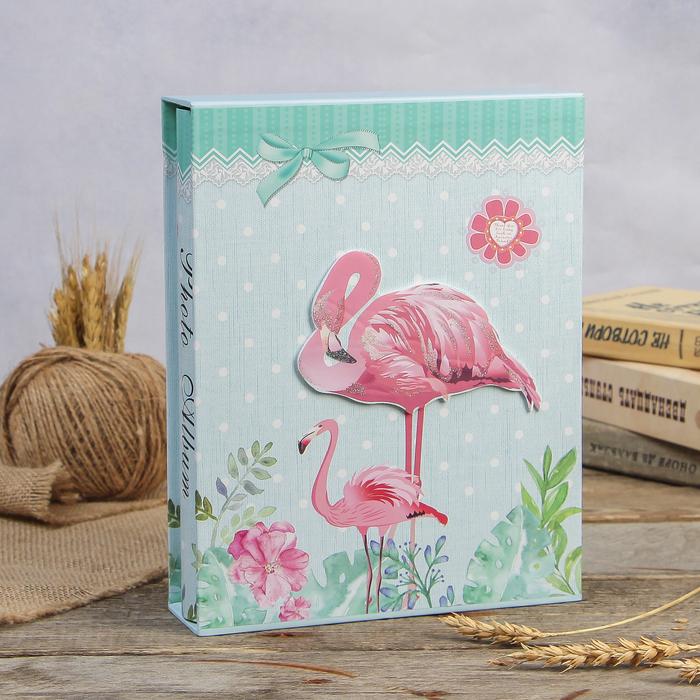 """Фотоальбом магнитный 20 листов """"Фламинго в цветах"""" в коробке МИКС 26х20,5х5 см - фото 818648"""
