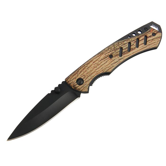 Нож складной неавтоматический в чехле с фиксатором, лезвие черное, рукоять хаки песочная