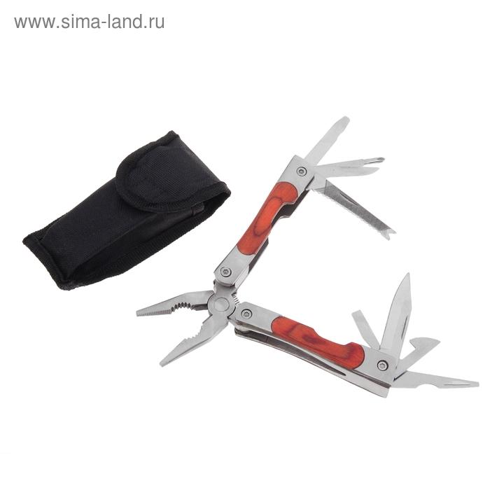Инструмент многофункциональный 10в1, в чехле, рукоять дерево