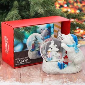 Подарочный набор «Мишка с севера», снежный шар и свеча, 20 х 12,8 см