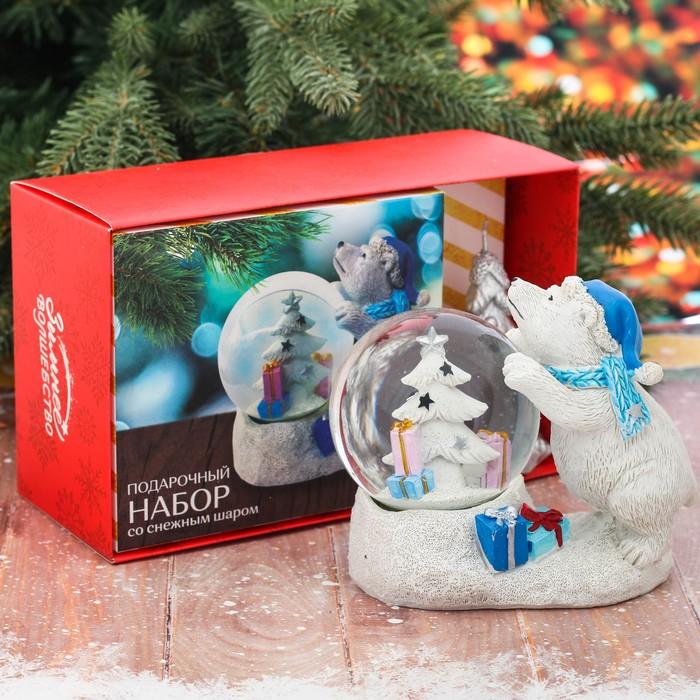 Подарочный набор «Мишка с севера»: снежный шар, свеча