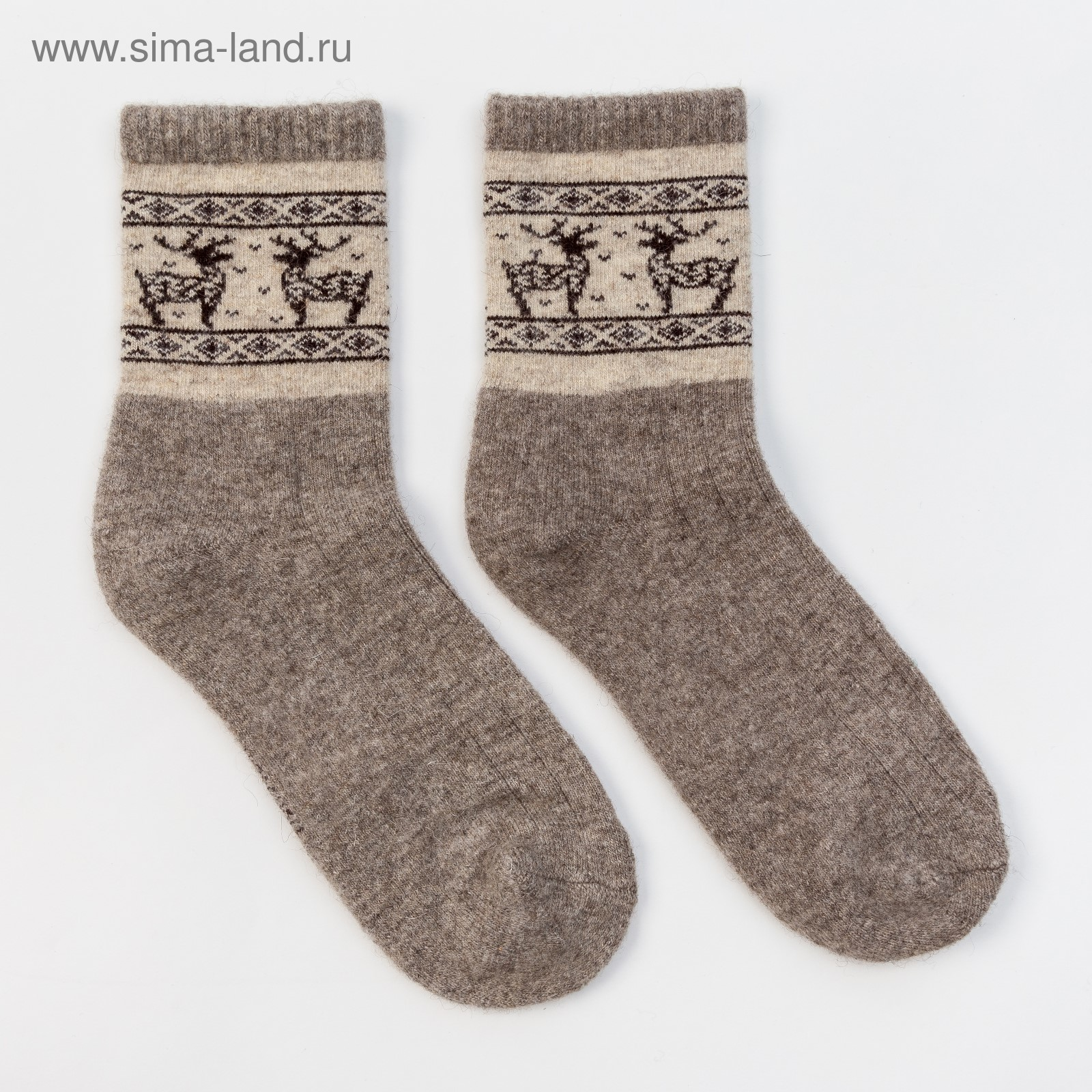 29e3fc673a4e1 Носки новогодние мужские шерстяные Organic с оленями, цвет серый, размер 27  (40-