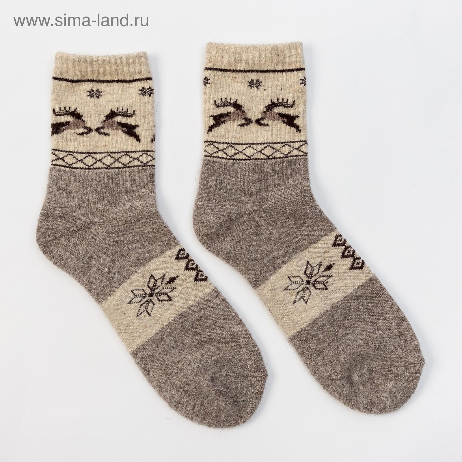 ba7dc588f1996 Носки новогодние мужские шерстяные Organic снежинки и олени, цвет серый,  размер 27 (40