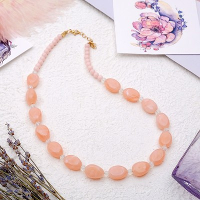 """Beads """"Harmony"""" ovals, the color pink, 45 cm"""