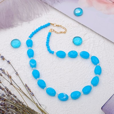 """Beads """"Harmony"""" ovals, color blue, 45 cm"""
