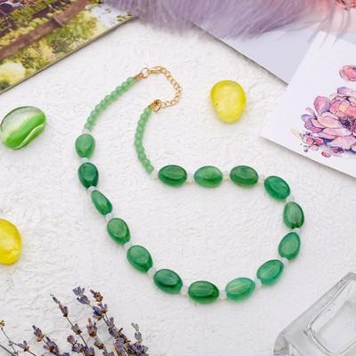 """Бусы """"Гармония"""" овалы, цвет зелёный, 45 см"""