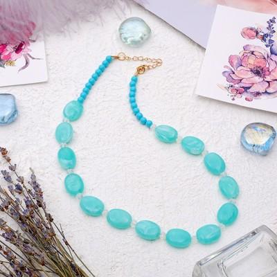 "Beads ""Harmony"" ovals flat, color light green, 45 cm"