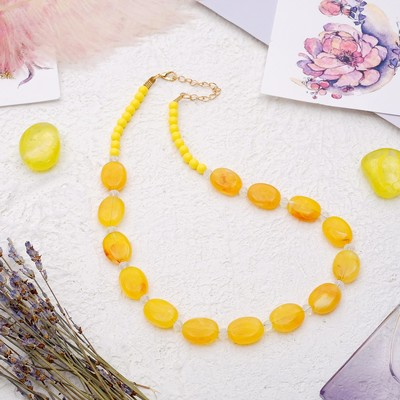 """Beads """"Harmony"""" ovals flat, color amber, 45 cm"""