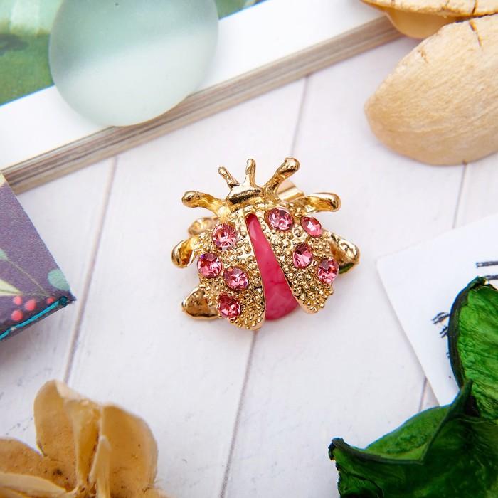 """Брошь """"Божья коровка"""" мини, цвет розовый в золоте - фото 7382348"""