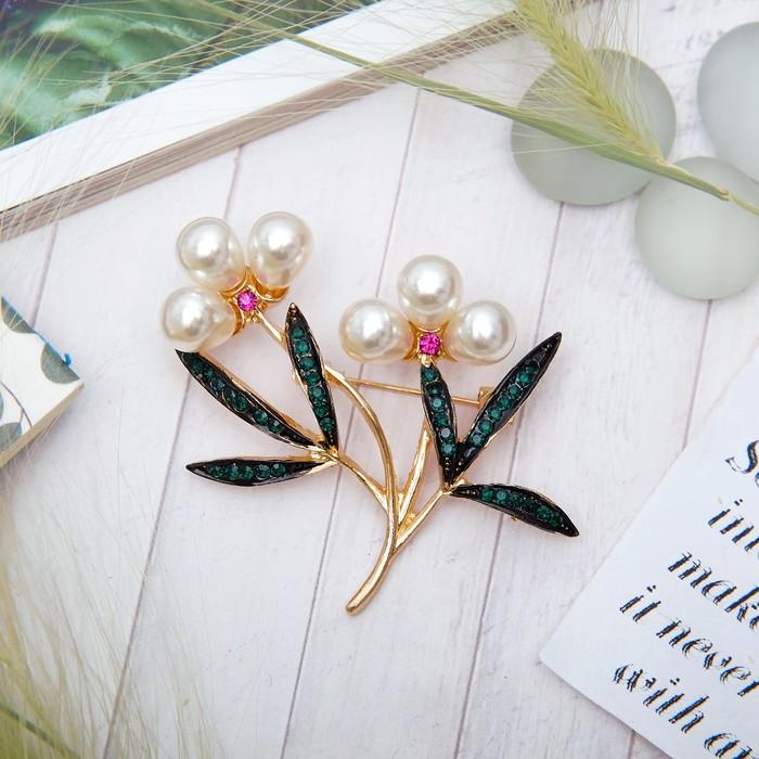 """Брошь """"Цветы"""" ландыши, бусины, цвет бело-зеленый в золоте - фото 245323453"""
