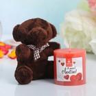 """Набор подарочный свеча с мягкой игрушкой """"Я тебя люблю!"""""""