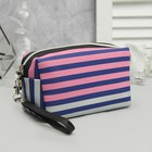 Cosmetic bag road, division zipper, with handle, color blue/pink