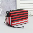 Cosmetic bag road, division zipper, with handle, color red/black