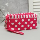 Cosmetic bag, 2 Department zip, with handle, color raspberry