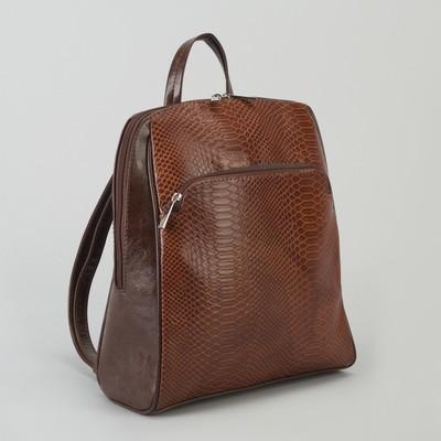 Рюкзак, отдел на молнии, 2 наружных кармана, цвет коричневый